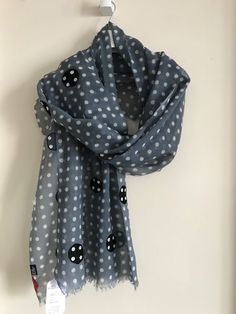 df0cb9d3a New wool and silk scarf fashionable and one of the kind. Gray with polka  dots