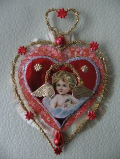 Vintage Look Victorian Valentine-German Angel Scrap, Spun Glass, Tinsel, Dresdens, Vintage Glass Beads. $21.00, via Etsy.