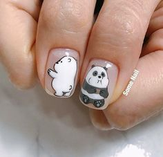 We Bare Bears, polar and panda bear design nails Panda Nail Art, Animal Nail Art, Stylish Nails, Trendy Nails, Gel Nails, Manicure, Nail Nail, Nails For Kids, Long Nails
