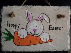 4x6 Handpainted Hoppy Easter slate sign by ArtDesignsByLaura, $7.00
