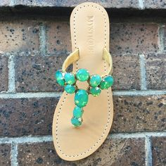 Summer leather jeweled sandals Flat Wedges, Flat Sandals, Leather Sandals, Flats, Mystique Sandals, Green Sandals, Jeweled Sandals, Types Of Women, Palm Beach Sandals