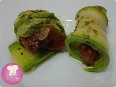 Ana Claudia na Cozinha: Rolinhos de Abobrinha com Tomate Seco