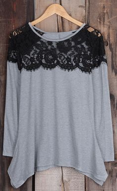 Free shipping&easy return! This chic top is detailed with lace splicing&high low hem! Keep it cozy&chic at Cupshe.com