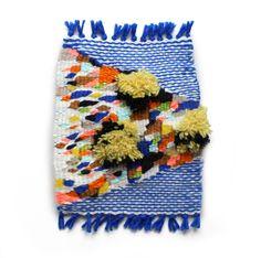 """Maps-end ocean, Kayla Mattes. Part of the 'pixel fuzz"""" series Weaving Textiles, Weaving Art, Tapestry Weaving, Loom Weaving, Braids With Weave, Weaving Projects, Weaving Techniques, Textile Artists, Textile Design"""