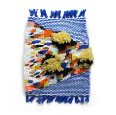 "Maps-end ocean, Kayla Mattes. Part of the 'pixel fuzz"" series Weaving Textiles, Weaving Art, Tapestry Weaving, Loom Weaving, Braids With Weave, Weaving Projects, Weaving Techniques, Textile Artists, Fiber Art"