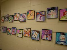 "WHAT'S HAPPENING IN THE ART ROOM??: 3rd Grade: Snowmen""Snowmen at Night"" was the inspiration. Uses analogous colors for value"