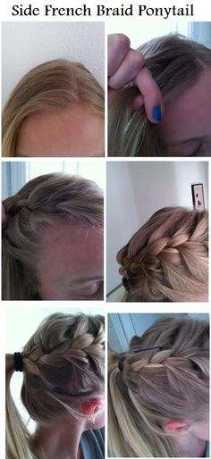 Side French Braid with Ponytail...need to try French braiding again! Never been able to do it!