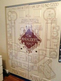 The Marauder's Map hanf painted closet door -- Harry Potter,, home decoration, DIY