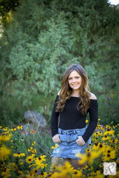 outdoor senior pictures summer yellow flowers Colorado
