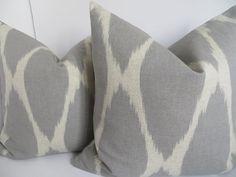 Ikat Gray Beige Pillow Covers, Ikat Decorative Pillow, Accent Ikat Pillow, Home Decor Pillows $26
