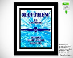 Swimmer Gift, Personalized, PepRalleez Acknowledge his hard work and dedication with this dynamic personalized graphic. This image marks the school