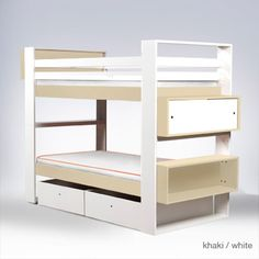 Here is the Austin Bunk Bed Design by Ducduc. One of the most interesting parts of Austin bunk bed design is the color that are colorful and interesting Bunk Beds For Boys Room, Adult Bunk Beds, Cool Bunk Beds, Kid Beds, Kids Bedroom, Modern Childrens Furniture, Kids Furniture, Loft Spaces, Storage Spaces