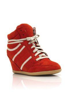 faux suede wedge sneakers $30.00