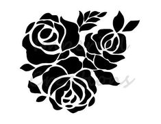 Stencil Rosa, Rose Stencil, Stencil Diy, Stencil Painting, Fabric Painting, Flower Stencils, Paint Stencils, Stenciling, T Shirt Stencils