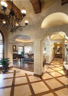 Mediterranean Hallway with sandstone floors, Wall sconce, Hardwood floors, Exposed beam, Tuscan Villa Two-Light Wall Sconce