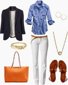 How to wear white jeans - 45 Lovely Preppy Casual Summer Outfits For School Preppy Casual, Casual Summer Outfits, Spring Outfits, Classy Casual, Spring Wear, Casual Fridays, Casual Office, Comfy Casual, Smart Casual