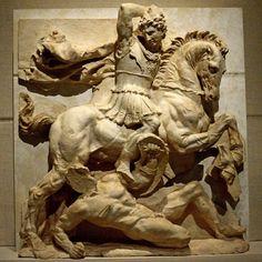 Μetope with battle scene,3rd-2nd c.BC.Found at Taras.The horseman is King Pyrros of the Greek kingdom of Epirus