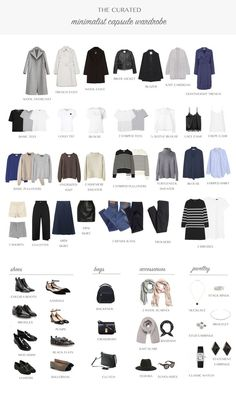 Clothes basics simple minimal minimise capsule sort few neutrals black white picture pictures photo. all year capsule wardrobe Capsule Outfits, Fashion Capsule, Mode Outfits, Fashion Outfits, Womens Fashion, Fashion Trends, Petite Fashion, Fashion Jobs, Travel Outfits