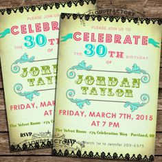 30th Birthday Party Invitation  Digital Printable by Cloud9Factory, $20.00