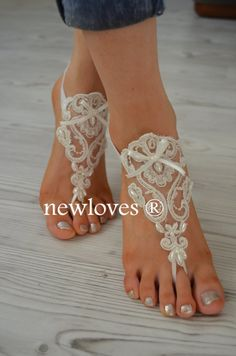 beach shoes bridal sandals wedding bridal barefoot by newgloves, $25.00