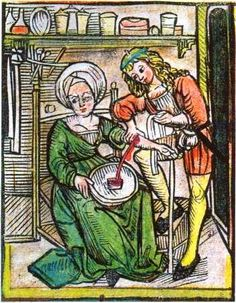 """An illustration from the Middle Ages showing a physician and his patient during a bloodletting procedure.  Bloodletting was common in medicine until the late 19th century, and it was believed that eliminating """"bad blood"""" cured many diseases."""