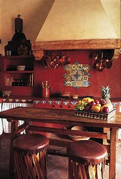 Simple Spanish Style Kitchen Apartment Decor Ideas - Page 24 of 75 Mexican Style Homes, Mexican Style Kitchens, Mexican Kitchen Decor, Mexican Home Decor, Hacienda Kitchen, Spanish Kitchen Decor, Boho Kitchen, Rustic Kitchen, Mexican Bedroom