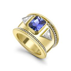 18ct Yellow Gold, Sapphire  and Diamond Bombe Ring