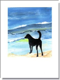 """Handmade greeting card. The background is a reproduction of an acrylic painting. """"Dog at the Beach"""""""