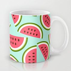 QoiueoF Watermelon Mint White Mugs - 11 ounces Cute Watermelon, Cute Fruit, Tassen Design, Fruit Nail Art, Cute Store, Girls Room Design, Cherry Kitchen, One In A Melon, Tea Cups