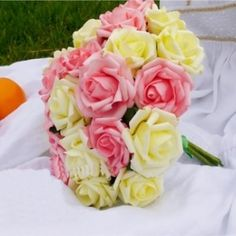 Yellow and Pink Bouquets.. Get this 12 pieces of Rose Bouquets at Rs. 399.  Flowersbuds, Hyderabad based online florists store offering reliable and prompt delivery.