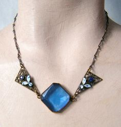 "VINTAGE ART DECO CZECH NECKLACE- ORIGINAL CONDITION-17"" LONG- BLUE CENTRAL STONE 