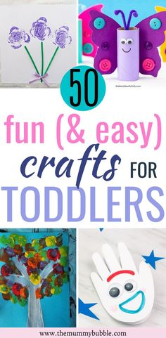 Looking for things to do with your toddler at home? Try these 50 fun and easy crafts for toddlers! Perfect activities to do with your bored toddler on rainy days at home #toddlercrafts #toddleractivities #toddler Easy Toddler Crafts, Fun Crafts For Kids, Easy Crafts For Kids, Preschool Crafts, Projects For Kids, Diy For Kids, Quick Crafts, Daycare Crafts, Toddler Stuff