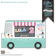 Our POPULAR Retro Ice Cream Truck Soda Shoppe Birthday Invitation with Photo! Yum! We all scream for ice cream!!!   Start your party off right with this custom designed digital invitation!  Contact Laura at {Lottie Bird} for more custom keepsake designs!