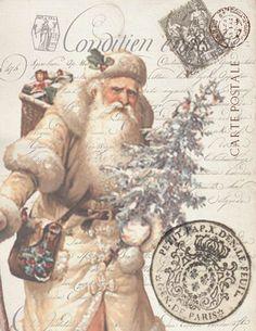 Paper Christmas Ivory Santa Print: