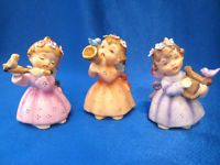 "3 VINTAGE JAPAN ANGEL FIGURINES 1 LEFTON & 2 MADE IN JAPAN 3 1/4"" TALL 1960s era"