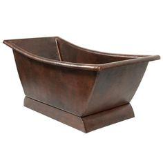 Premier Copper Products 67-inch Hammered Copper Canoa Single Slipper Bathtub - Oil Rubbed Bronze