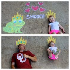 The Princess and the frog... ...and her handsome Prince - sidewalk chalk art Daddy's a good sport :)