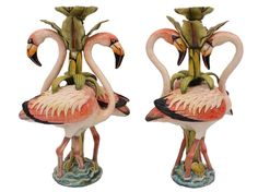 A striking pair: these magnificent flame-coloured flamingo candlesticks were created by Betty Ntshingila and painted by Mandla-Enkosi Ngwenya.
