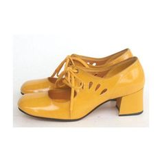 70's cutout yellow mary jane shoes
