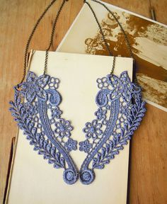 Floral Lavender Lace Necklace