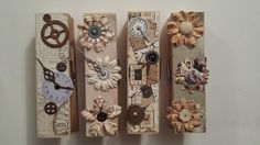 Extra Large Clothespin Photo/Note Holders Vintage Steampunk