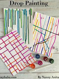 Drop Painting Process Art Activity | Nanny Anita | My Baba Bubble Painting, Painting For Kids, Art For Kids, Painting Activities, Craft Activities For Kids, Process Art, Painting Process, Summer Camp Art, September Art