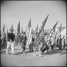 Gila River Relocation Center, Rivers, Arizona. A view of some of the school children who participated in the Harvest Festival Parade held at the Gila River Center on Thanksgiving Day.