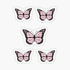 Pink Butterfly *aesthetic* Stickers | Redbubble Tumblr Stickers, Diy Stickers, Printable Stickers, Planner Stickers, Butterfly Cakes, Pink Butterfly, Blue Butterfly Wallpaper, Butterfly Template, Kawaii Wallpaper