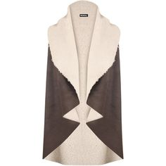 Selena Sheepskin Waistcoat ($35) ❤ liked on Polyvore featuring outerwear, vests, brown, sheep vest, fur lined vest, sheepskin vest, waistcoat vest and pink vest