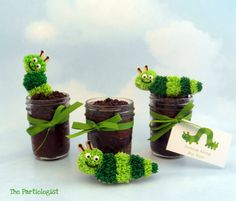 Cookie worms on cupcakes in jars!