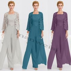 Women's mother of the bride dresses pants suit outfits lace jackets guest gowns Mother Of The Bride Suits, Mother Of Bride Outfits, Mother Of Groom Dresses, Bride Groom Dress, Mothers Dresses, Bride Dresses, Detachable Wedding Dress, Wedding Pantsuit, Lace Ball Gowns