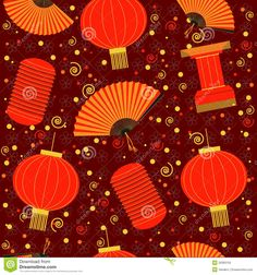 Chinese Lantern Template | Chinese lanterns seamless pattern.Vector red background.