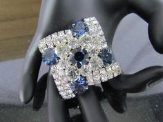 Large Vintage 1940's Pronged Sapphire Blue & Clear Rhinestone Silver Tone Brooch Pin by BergenPickersUSA on Etsy