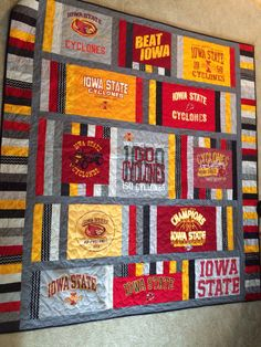 Memory tshirt quilt I made for my dad with my moms isu tshirts. - Memory tshirt quilt I made for my dad with my moms isu tshirts. Quilt Block Patterns, Pattern Blocks, Quilt Blocks, Blanket Patterns, Quilting Projects, Sewing Projects, Quilting Ideas, Sewing Ideas, Craft Projects
